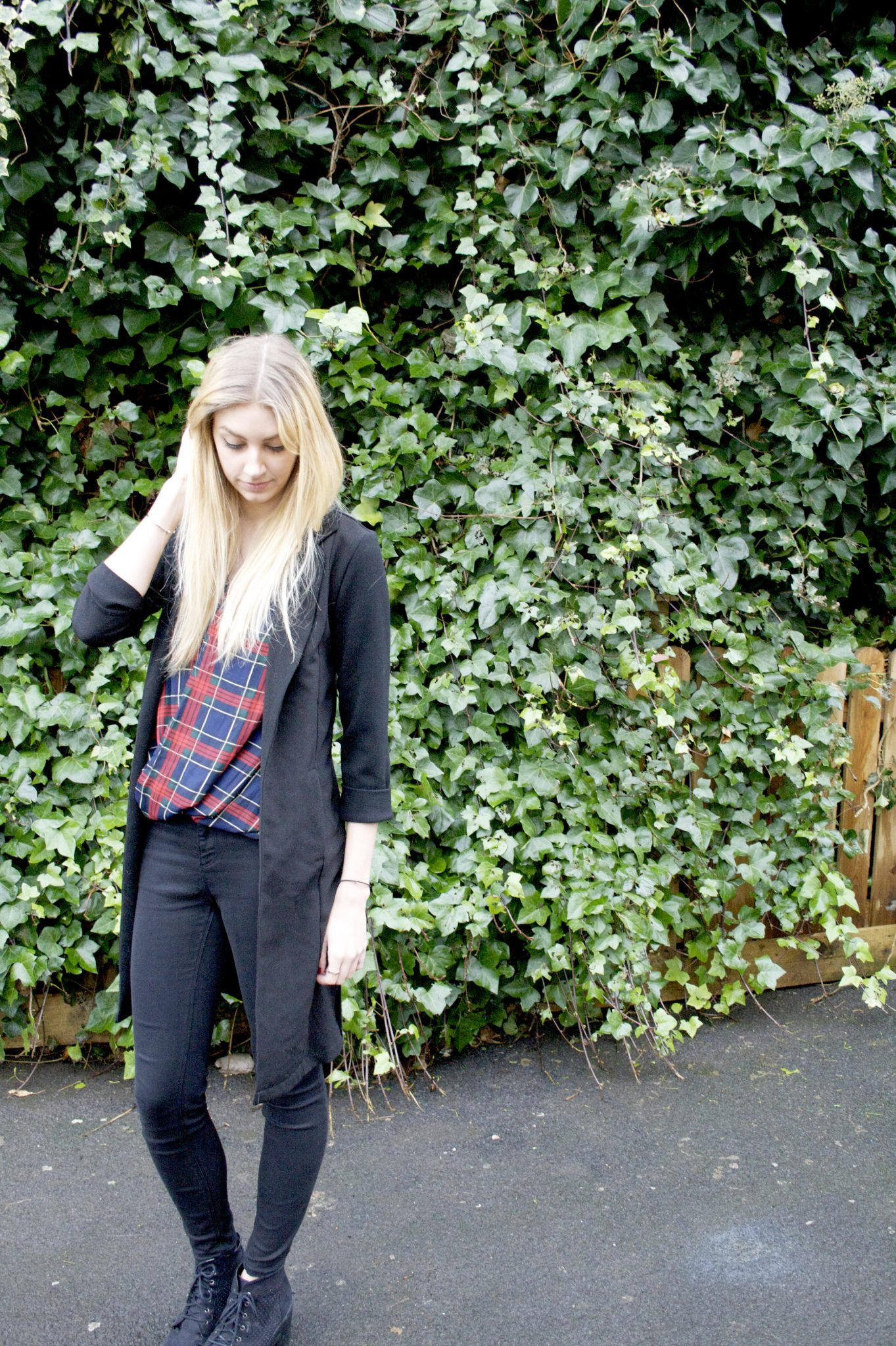 Manchester based fashion and lifestyle blogger. primark duster jacket, tiger mist tartan vest, river island jeans. Blonde blog.