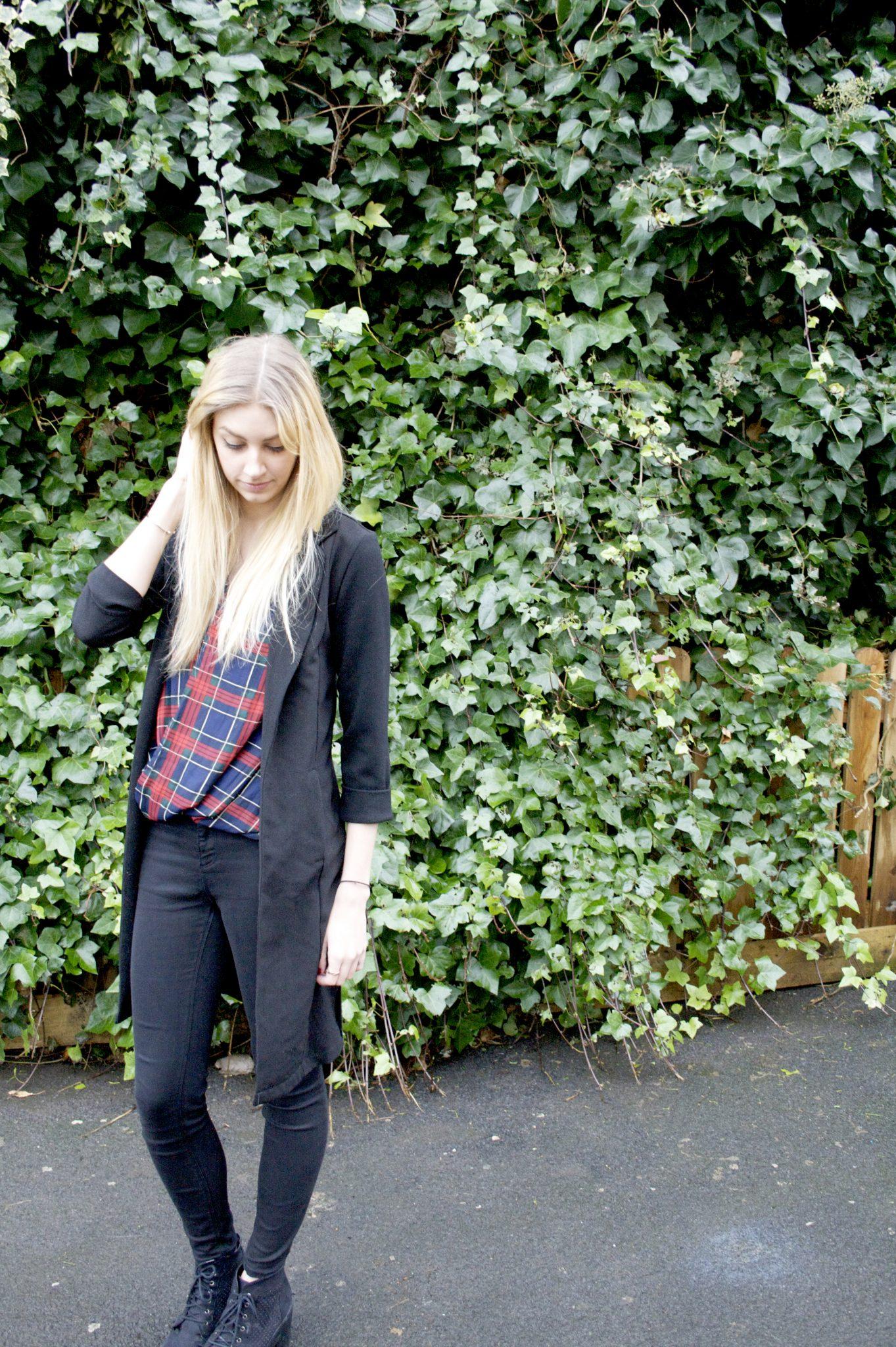 Manchester based fashion and lifestyle blogger. primark duster jacket, tiger mist tartan vest, river island jeans. Blonde blog.