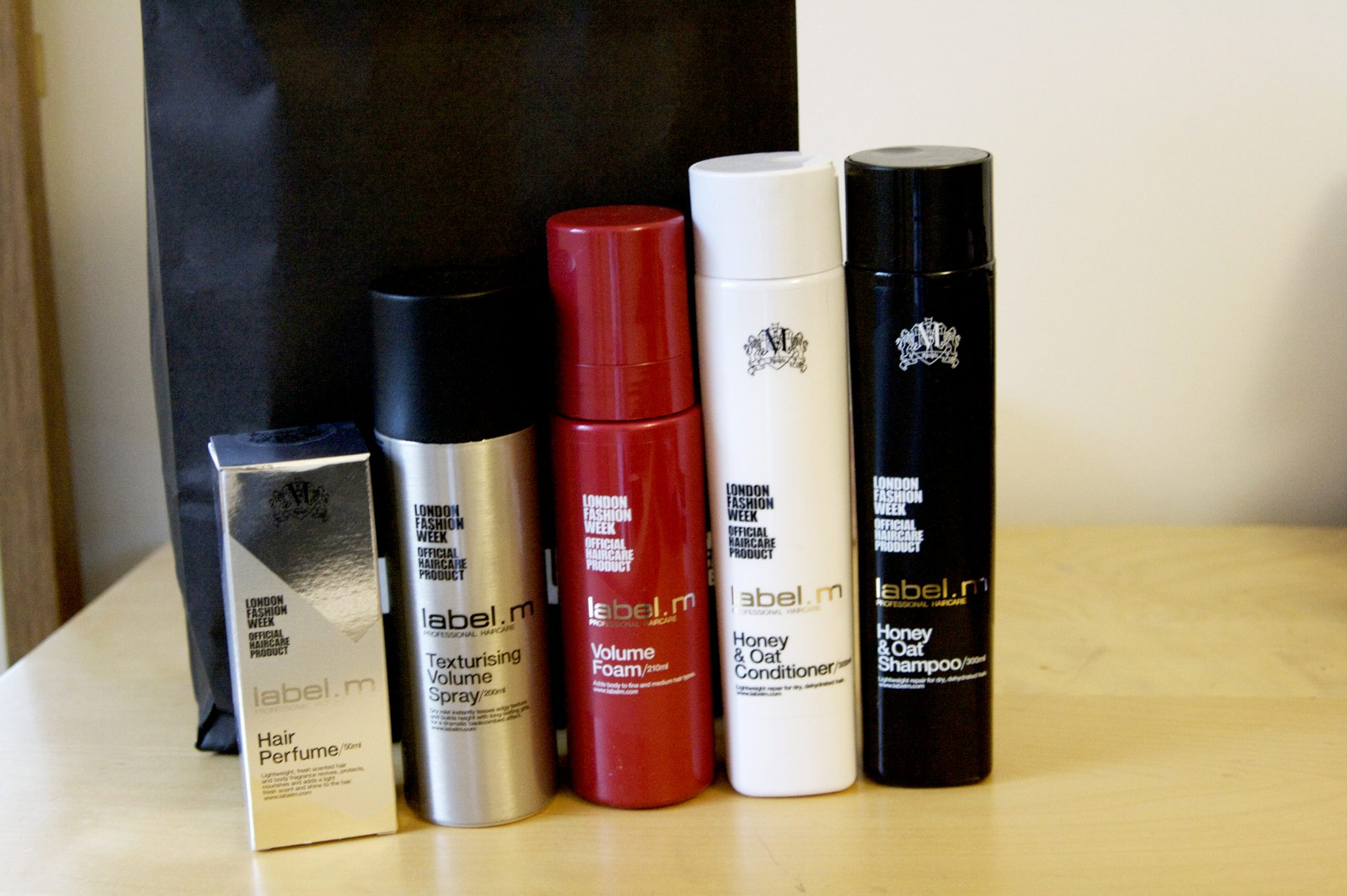 Toni and Guy Label M hair styling and hair care products. Official hair care for London Fashion Week. Volume Foam, honey and oat shampoo conditioner, hair perfume, texturising volume spray. Manchester fashion and lifestyle blog.