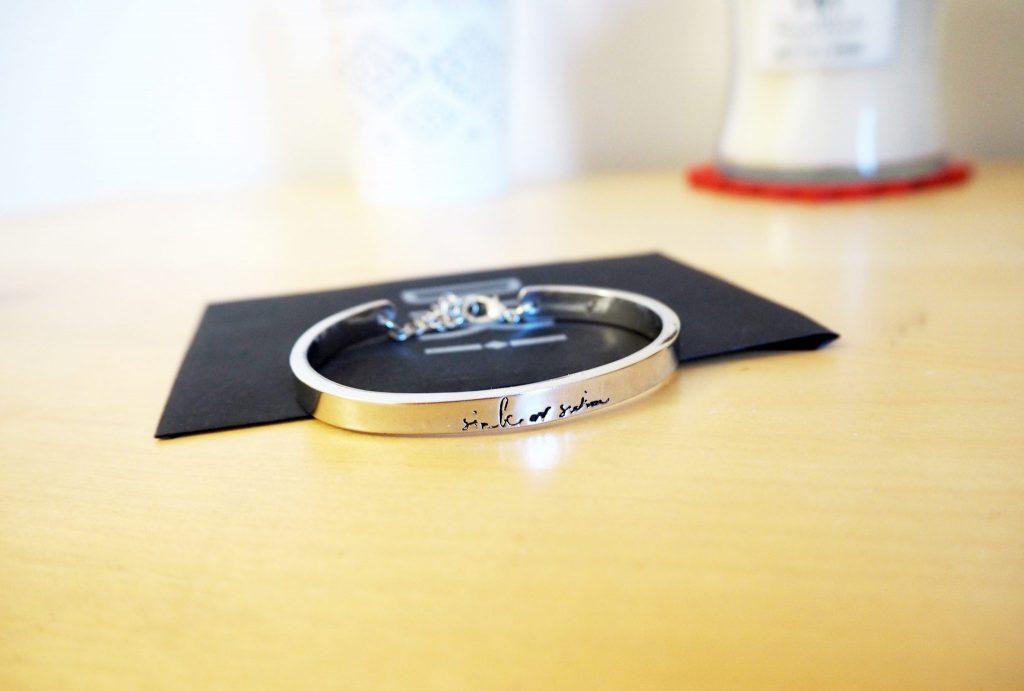 Silver Bracelet - Dixi Jewellery. Sink or Swim logo