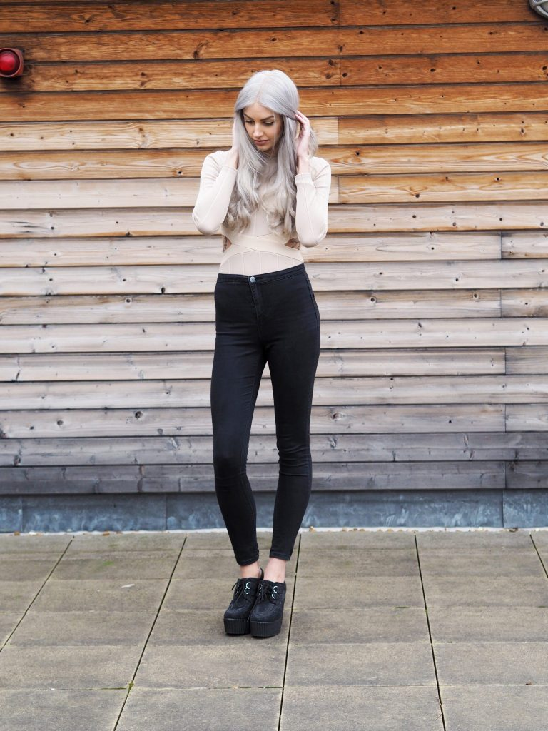 Nude In The Style Bodysuit, Primark Jeans, New Look Heeled Creepers and Grey Hair
