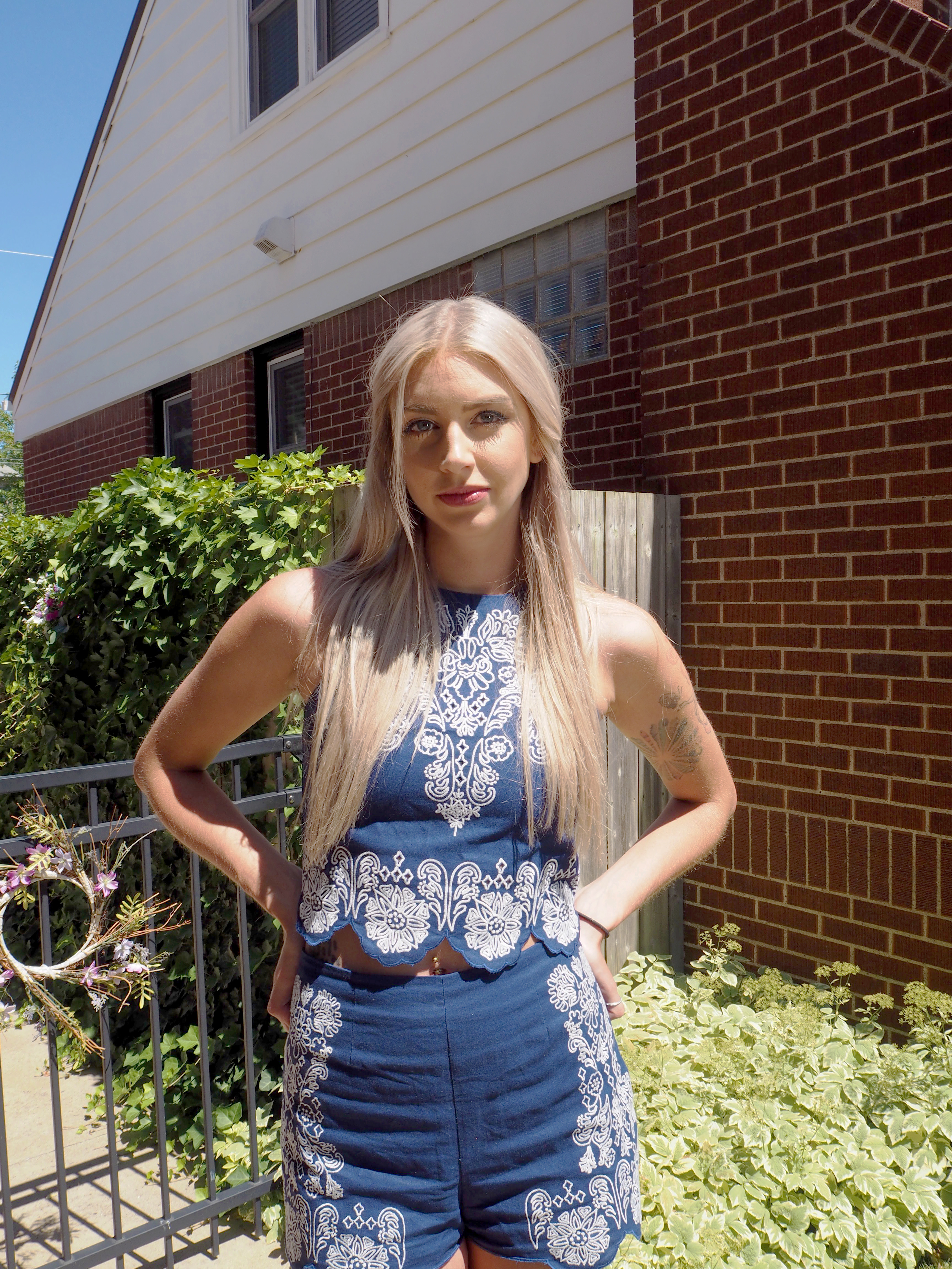 H&M Blue embroidered co-ord top and shorts outfit post