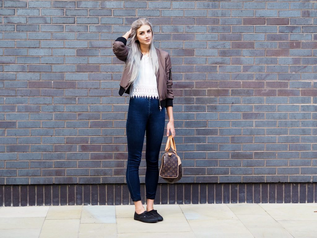Laura Kate Lucas - Manchester Fashion and Lifestyle Blogger   Outfit Post featuring Boohoo Bomber Jacket