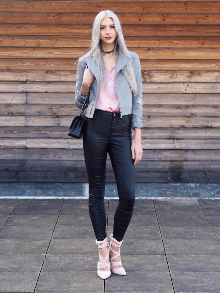 Manchester based fashion and lifestyle blogger Laura Kate Lucas | Dezzal Outfit Post featuring pink silk cami and grey embroidered biker jacket
