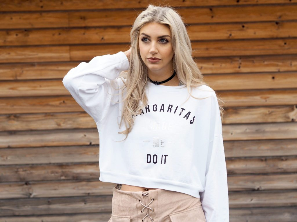 Laura Kate Lucas - Manchester Fashion and Lifestyle Blogger | Outfit post featuring Off Dutee Margaritas Made Me Do It Jumper, Misspap Lace Suede Skirt & Public Desire Boots