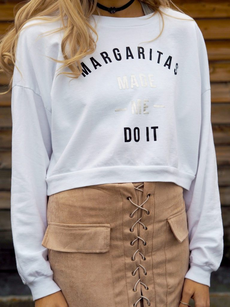 Laura Kate Lucas - Manchester Fashion and Lifestyle Blogger   Outfit post featuring Off Dutee Margaritas Made Me Do It Jumper, Misspap Lace Suede Skirt & Public Desire Boots