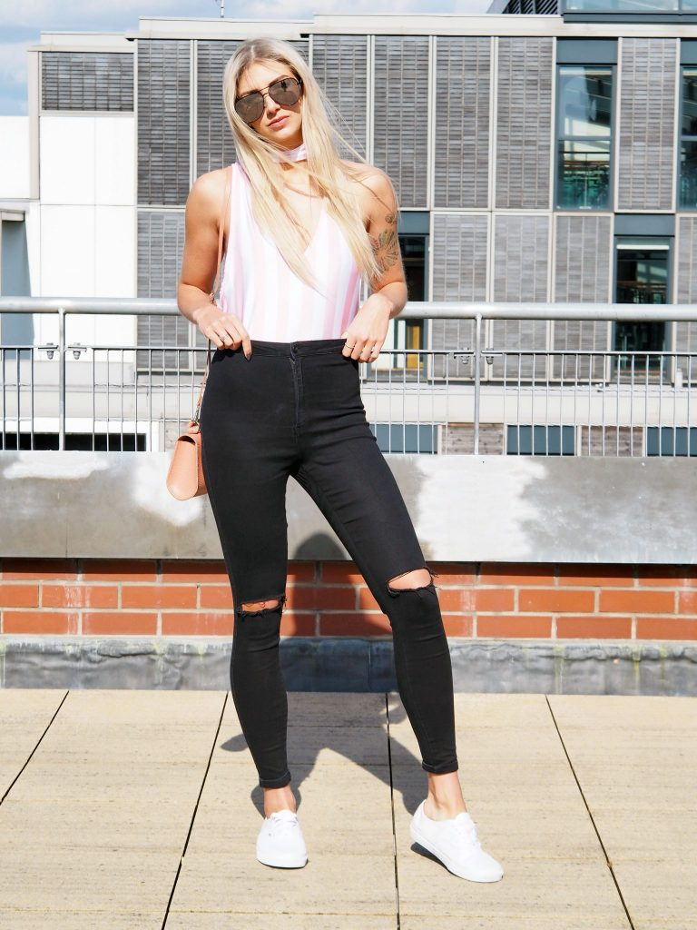 Laura Kate Lucas - Manchester fashioned Lifestyle Blogger   To Save Outfit Post - Candy Stripes Bodysuit and Ripped Jeans