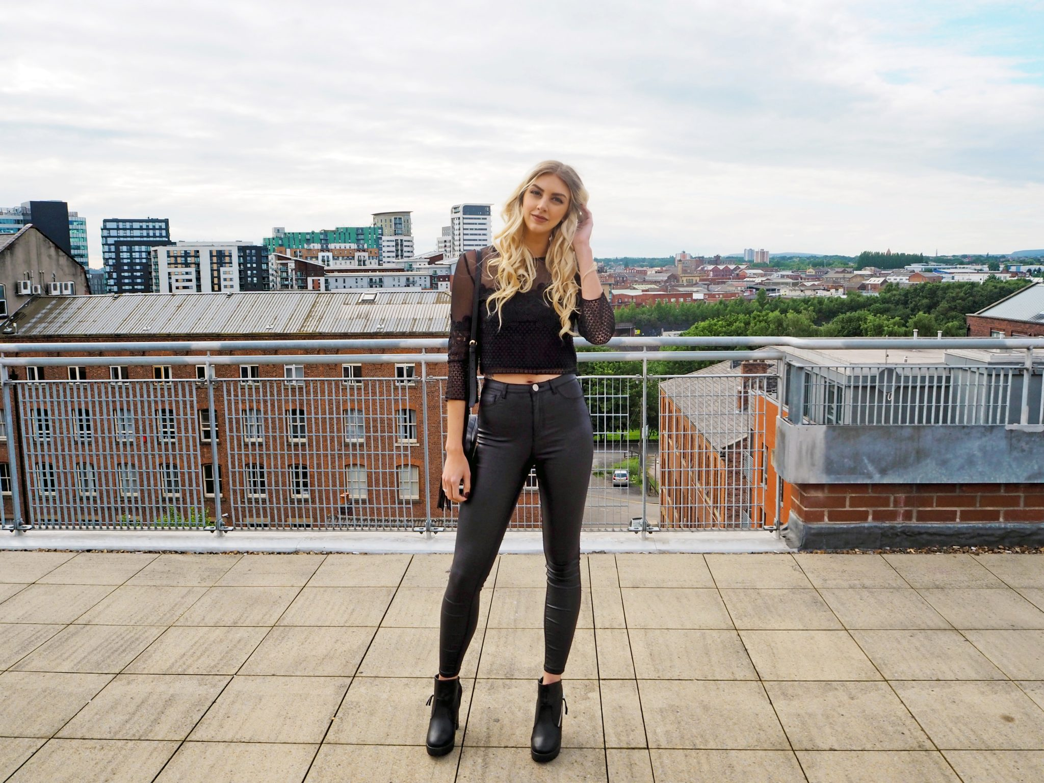 Laura Kate Lucas - Manchester Fashion, Fitness and Lifestyle Blogger | Outfit Post - Black Faux Leather Jeans, Heeled Biker Boots and Lace Crop Top
