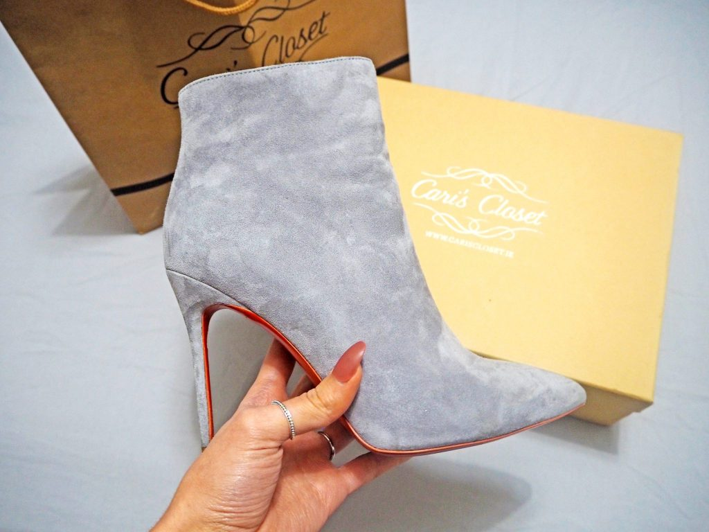 Laura Kate Lucas - Manchester Fashion, Lifestyle and Fitness Blogger | Red Sole Grey Suede Boots - Cari's Closet Outfit