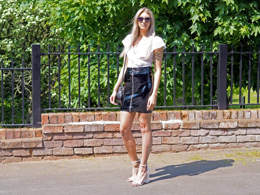 Laura Kate Lucas - Manchester Fashion, Lifestyle and Travel Blogger | inrush PVC Skirt and White Heels Outfit