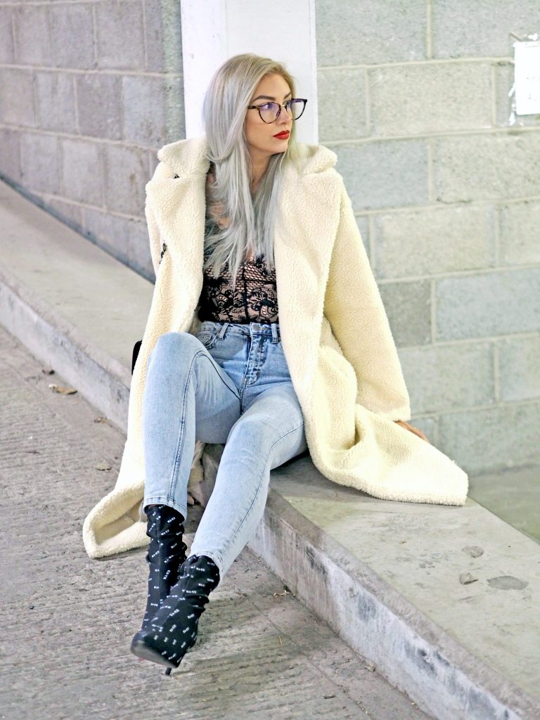 Laura Kate Lucas - Manchester Fashion, Lifestyle and Travel Blogger | NA-KD Outfit - Teddy Coat, Monogram Logo Sock Boots and Jeans